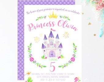 Watercolor Princess Invitations / Princess Party / Birthday Invitations