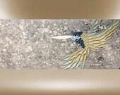 original painting hummingbird textured art bird garden 40x16 FREE SHIP