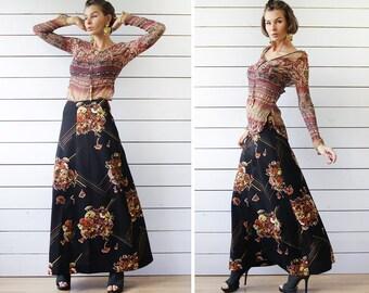 70s Vintage black brown yellow floral print flared A-line floor length high waist maxi skirt S
