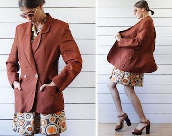 KL by KARL LAGERFELD vintage brick brown pure linen simple oversized blazer jacket Size I 44