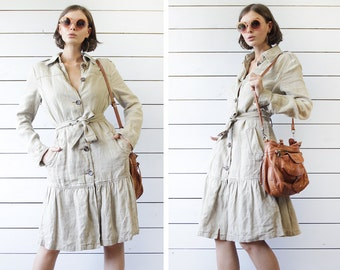 BENETTON vintage beige grey thick heavy linen long sleeve belted safari style summer duster coat dress M