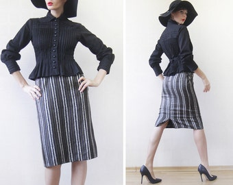 Vintage black brown beige pure silk high waist fitted pencil over the knee midi skirt XS-S