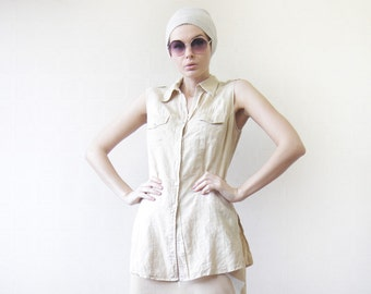 Vintage beige pure linen sleeveless long button up shirt blouse M