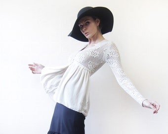 STEFANEL vintage ivory white sheer lace mesh knit silk chiffon cardigan sweater top S
