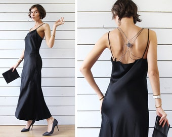 CARACTERE vintage black minimalist low open back beaded strap sleeveless evening maxi dress M L
