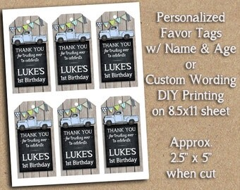 PERSONALIZED Vintage Blue or Red Truck Themed Birthday Party Printable - Favor Tags - DIY Printing - Great for Goody Bags, Treat Bag Tag