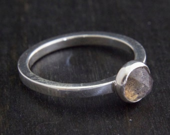 6mm Faceted Labradorite Bezel Set in a Silver Ring