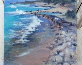 ORIGINAL Acrylic Painting, Barber's Point by Michelle Wynn: Hawaiian Art, Beach Decor, Seascape Painting, Landscape Painting, Contemporary