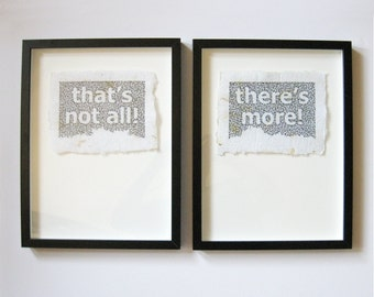 Typograpy Art Quote Embroidery - that's not all! there's more! - 2 Framed Diptych Black & White Art - Handmade Paper Art - Contemporary Art