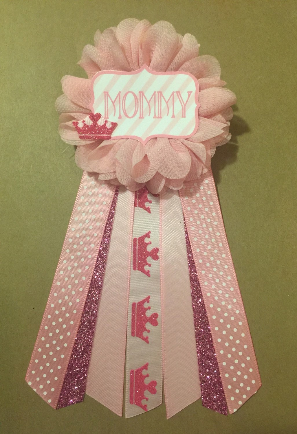 pink crown princess baby shower pin mommy to be pin flower