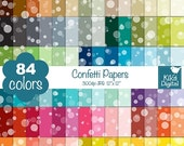 70% Sale Confetti Digital Papers - Rainbow Confetti Papers - Soap Bubble Scrapbook Papers - Huge Paper Pack- Instant Download