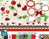 70% Sale Ladybug Digital Clipart and Paper Pack - Scrapbooking , card design, invitations, stickers, paper crafts, web design - INSTANT DOWN