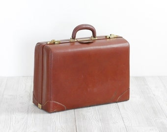 Vintage Leather Suitcase with Plaid Lining