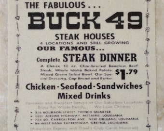 Buck 49 Steak House Coaster New Orleans
