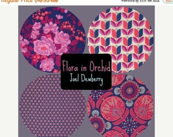 ON SALE Joel Dewberry Fabric - 4 Fat Quarter Bundle FLORA in Orchid