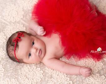 RED BABY TUTU with Headband, Baby Tutu, Red Tutu, Christmas Tutu, Newborn Christmas Tutu, Newborn Photo Prop, Newborn prop, Newborn Tutu