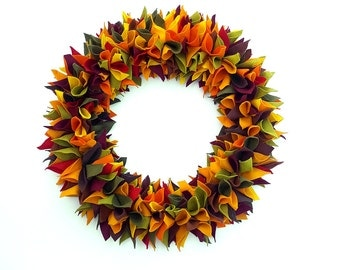 Thanksgiving wreath, greenery wreath, autumn wreath, door wreath, pumpkin wreath, felt floral wreath, modern wreath, felt fall wreath