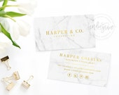 Real Gold Foil Business Card Template - Moo Gold Foil design - Marble Business Card Design - Small Business Branding