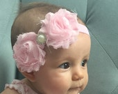 Baby Headbands, shabby pink roses with pearl embellishment.  choose your size,  so precious for new borns, birthdays, weddings, holidays.