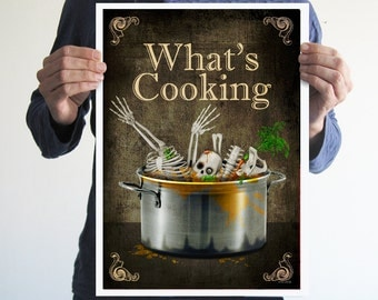 What's cooking,poster,kitchen,home decor,Halloween,skull,skeleton,art,funny,digital print,Gothic,