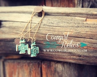 Delacruz Western Earrings-Copper, Turquoise, Rustic Earrings