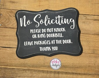 No Soliciting Sign | No Soliciting Wood Sign - Don't Ring the Bell Sign - Please Do Not Knock Sign