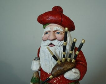 Scottish Santa Wood Carving With Bagpipes Father Christmas Home Decor Collectible Santa Figurine