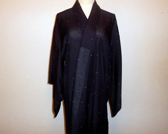 Vintage summer kimono - Tiny cross / Dark navy, Summery unlined