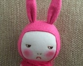 Handmade grumpy bunny doll