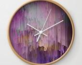 Purple Rain, wall clock, glitch wall clock, pixel sorting, surreal wall clock, abstract clock, purple wall clock, unique wall clock, rain