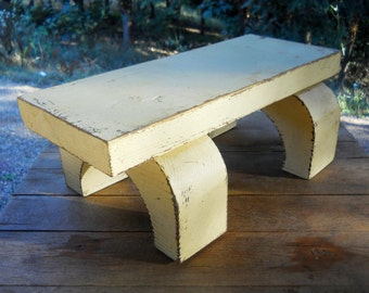 Solid Plank Rustic Log Stool Vintage 1970s Painted Primitive Wood Footstool Farmhouse Cottage Victorian Porch Carved Chunky Adirondack Decor