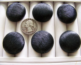 Set of 6 Vintage Black Textured Mounded Coat Buttons