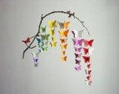 Butterfly Baby Mobile - Rainbow Colours with Upcycled Sheet Music - Repurposed Baby Mobile - Eco Baby Mobile - Crib Mobile - New Baby Gift
