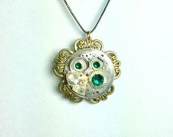 Golden Tick-Tock Flower Steampunk Necklace