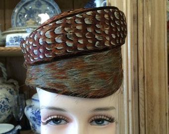 Vintage 1950s mad men pill box bird feather hat wedding bridal freee shipping sale