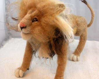 Needlefelted Lem the Lion