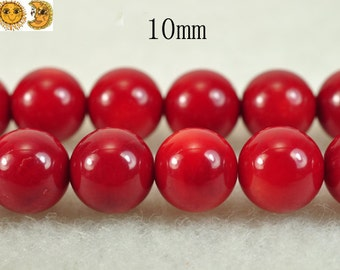 15 inch strand of Grade AAA Red Bamboo Coral smooth round beads 10 mm