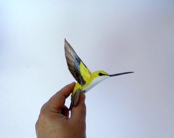 Hummingbird paper mache Art  bird sculpture original bird ornaments