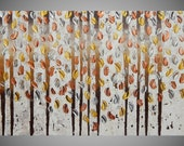 """Painting Art Paintings on Canvas Acrylic Painting Wall Art Birch Trees Gold Silver Copper Metallic 48"""" x 24"""" Made to Order by ilonka"""