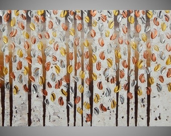 "Painting Art Paintings on Canvas Acrylic Painting Wall Art Birch Trees Gold Silver Copper Metallic 48"" x 24"" Made to Order by ilonka"