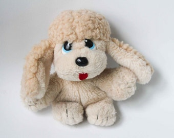 1985 Marchon Hug a Pup Tan Brown Puppy Plush Blue Eyes - Vintage 80s