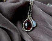 Garnet Pendant on Thin Silver Chain - Marsala and Silver Necklace - Garnet and Moonstone Charms- Delicate Jewelry