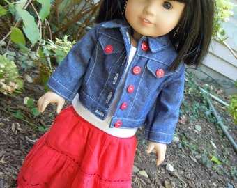 "American girl or 18"" doll outfit, maxi skirt, tank top and denim jean jacket"