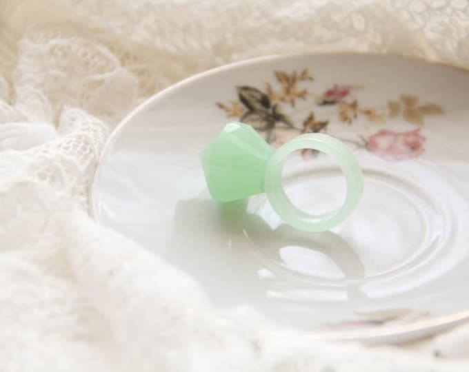 Pastel Mint Diamond Resin Ring, Unique Resin Jewelry, Mint Epoxy Ring, Stackable Resin Ring, Modern Materials, Bold Stacking Ring, For Her