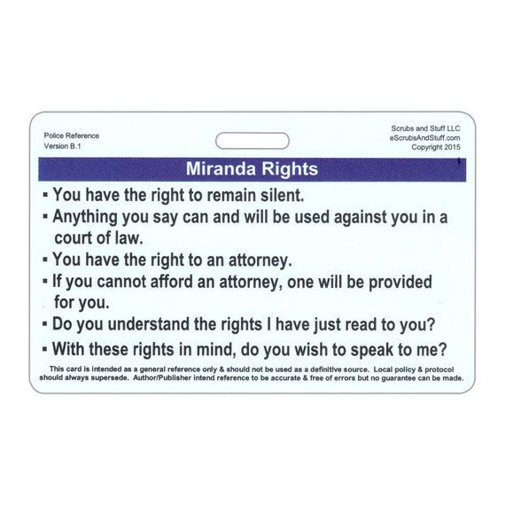 Unusual image throughout miranda warning card printable