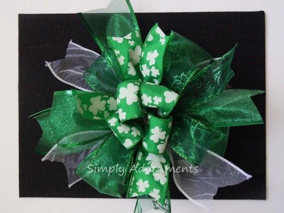 Kelly St Patrick's Wreath Bow Kelly Shamrock Door Hanger Bow Irish Kelly Shamrock Bow St Patrick Gift Topper Bow