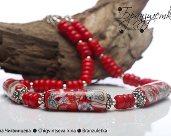 Luxury - set necklace and earrings - lampwork bead red burgundy gray murrini flowers - red coral