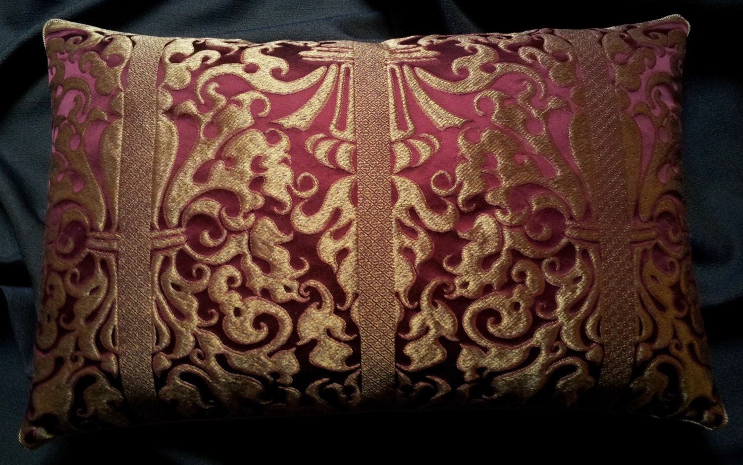 Red And Gold Decorative Pillow : Lumbar Throw Pillow Ruby Red and Gold Silk Lampas Rubelli