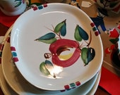 Purinton Pottery Dessert or Bread Plate Apple Design Hand Painted - Made in USA