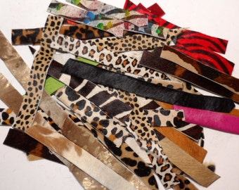 one inch wide leather (hair on hide) strips - mix of ANIMAL prints - 58 pieces